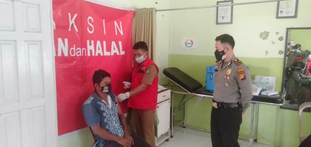 Polres Rohul Dalam Menekan Penyebaran Covid 19, Lakukan Pengawasan Vaksinasi Di Puskesmas Bonai Darussalam